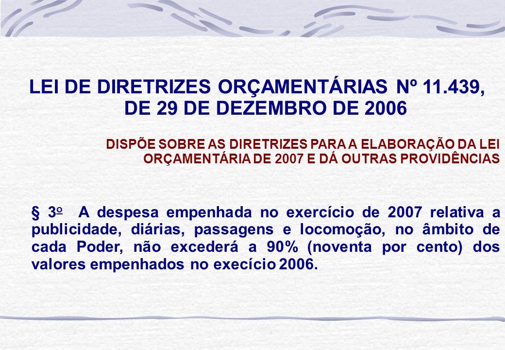 LEI DE DIRETRIZES ORÇAMENTÁRIAS Nº 11.439, DE 29 DE DEZEMBRO DE 2006 DISPÕE SOBRE AS DIRETRIZES PARA A ELABORAÇÃO DA LEI ORÇAMENTÁRIA DE 2007 E DÁ OUT