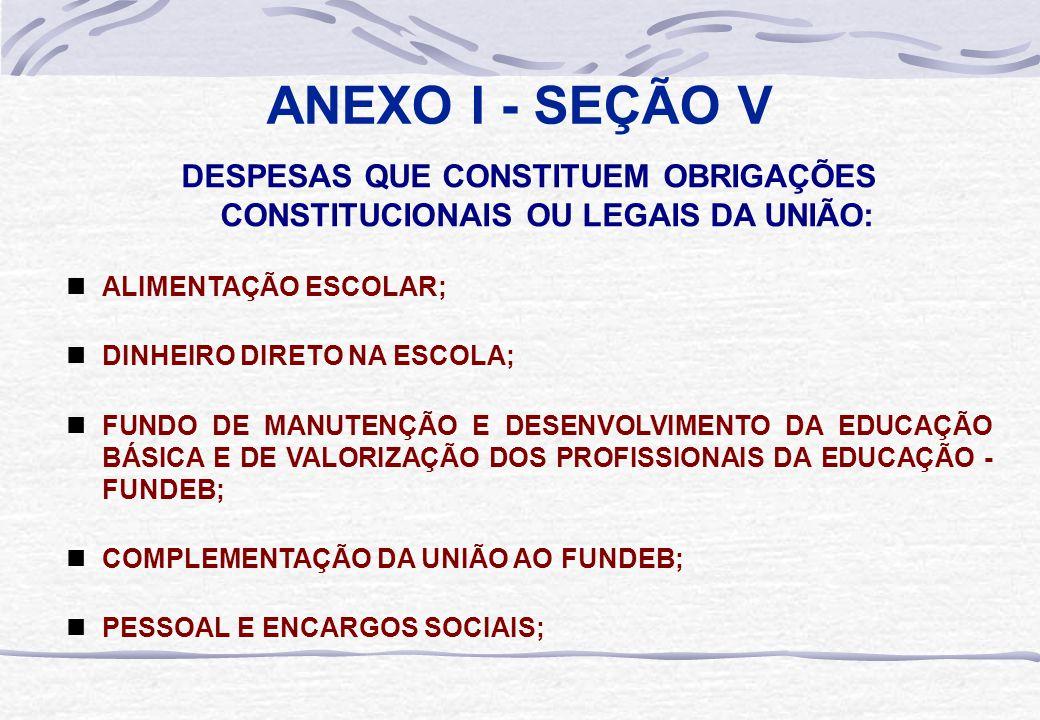 ANEXO I - SEÇÃO V DESPESAS QUE CONSTITUEM OBRIGAÇÕES CONSTITUCIONAIS OU LEGAIS DA UNIÃO:  ALIMENTAÇÃO ESCOLAR;  DINHEIRO DIRETO NA ESCOLA;  FUNDO D