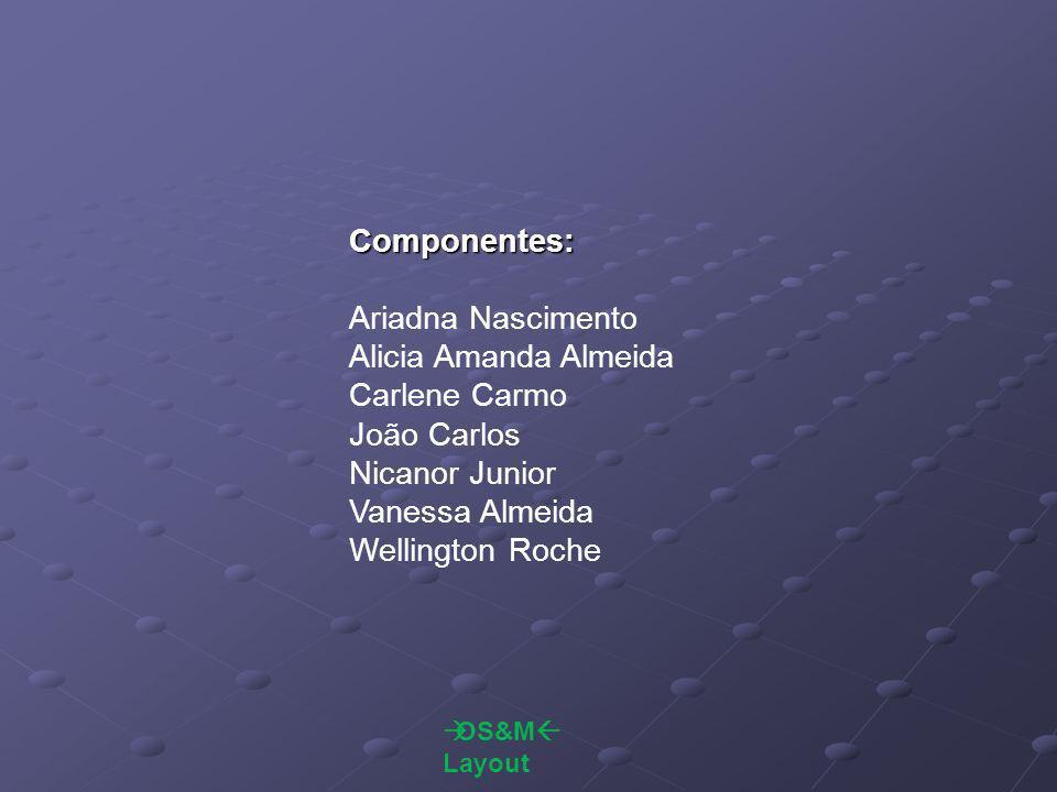  OS&M  Layout Componentes: Ariadna Nascimento Alicia Amanda Almeida Carlene Carmo João Carlos Nicanor Junior Vanessa Almeida Wellington Roche
