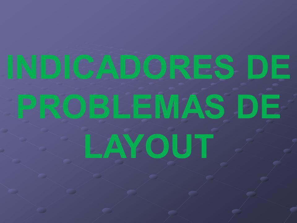 INDICADORES DE PROBLEMAS DE LAYOUT