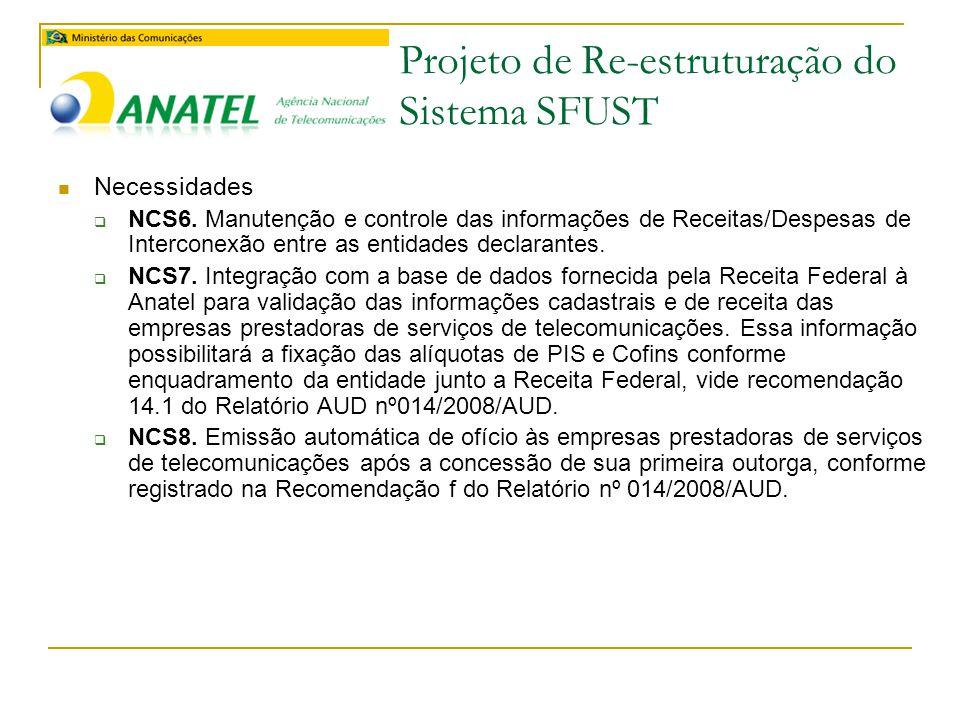 Projeto de Re-estruturação do Sistema SFUST  Necessidades  NCS6.