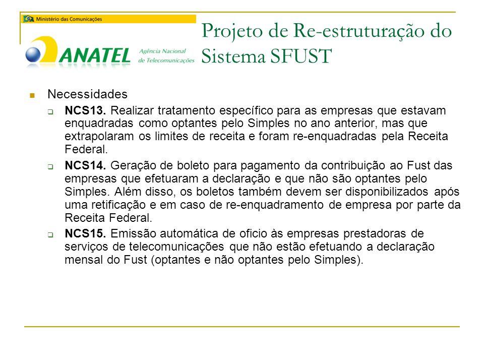 Projeto de Re-estruturação do Sistema SFUST  Necessidades  NCS13.