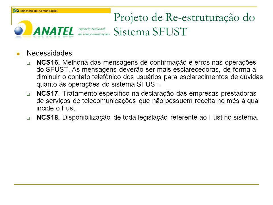 Projeto de Re-estruturação do Sistema SFUST  Necessidades  NCS16.