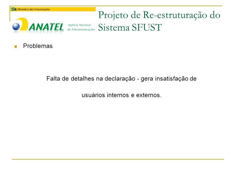 Projeto de Re-estruturação do Sistema SFUST  Problemas Falta de detalhes na declaração - gera insatisfação de usuários internos e externos.