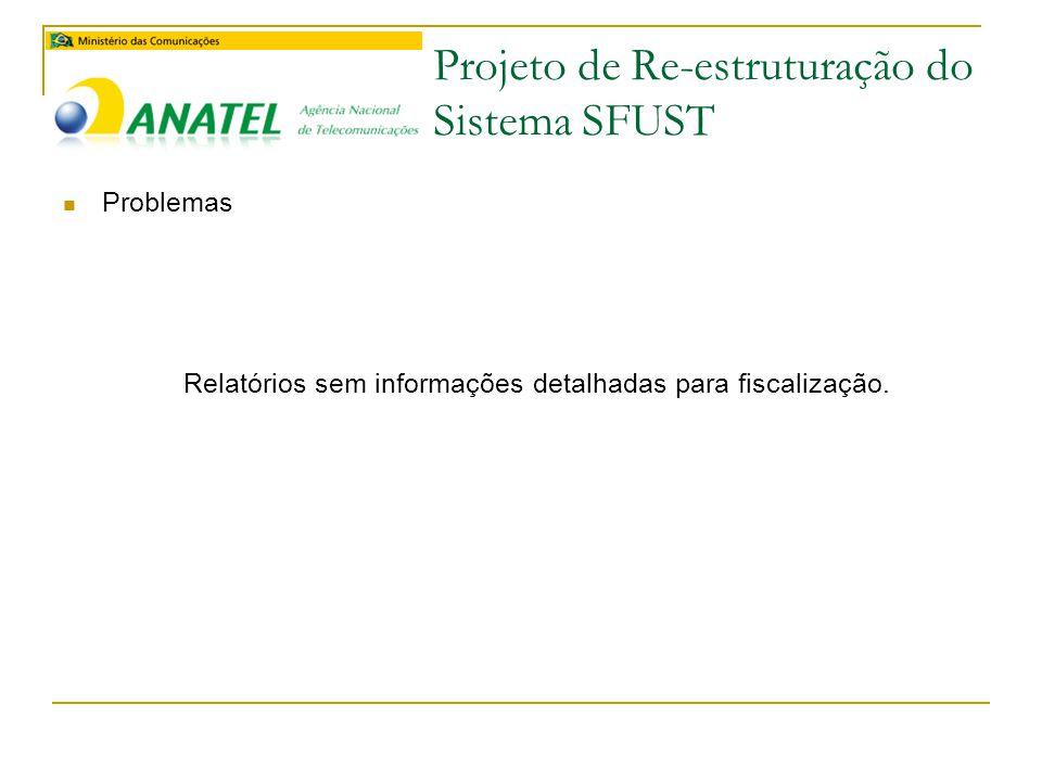 Projeto de Re-estruturação do Sistema SFUST  Problemas Relatórios sem informações detalhadas para fiscalização.