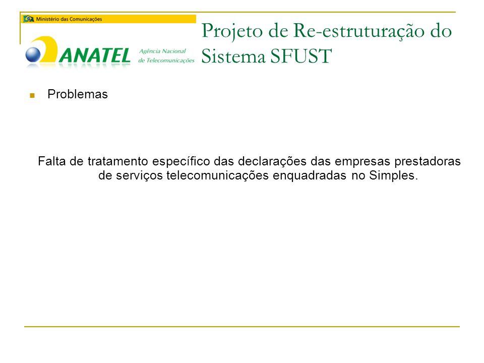 Projeto de Re-estruturação do Sistema SFUST  Problemas Falta de tratamento específico das declarações das empresas prestadoras de serviços telecomunicações enquadradas no Simples.