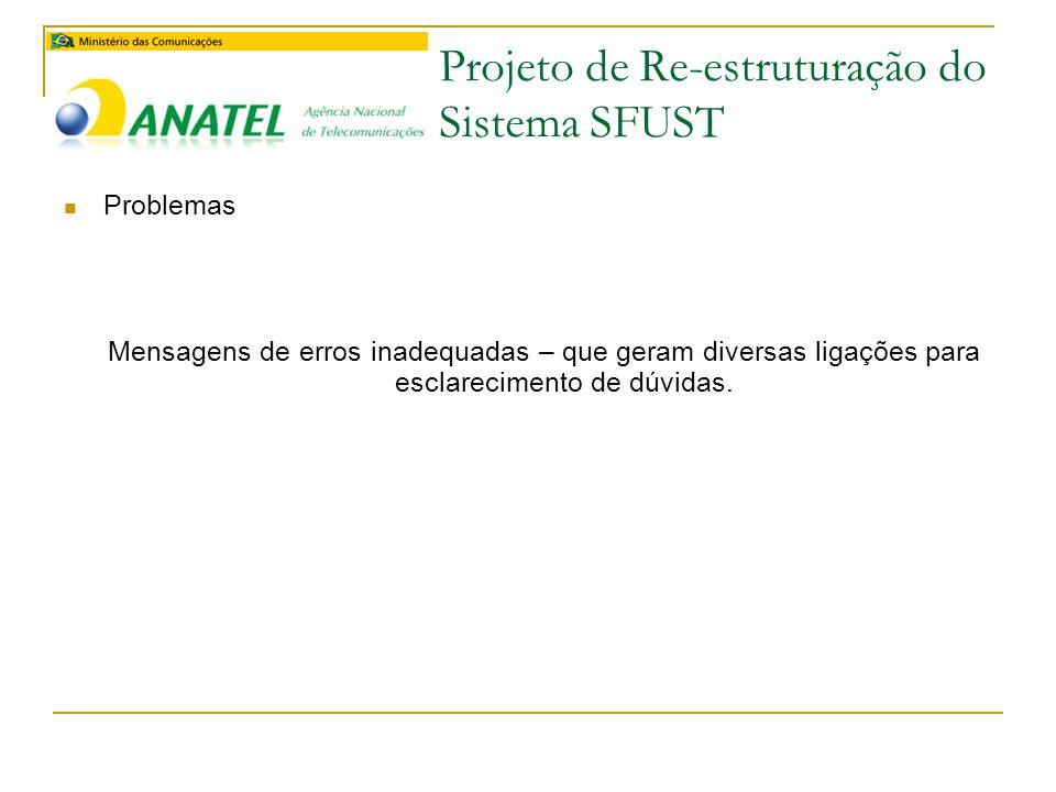 Projeto de Re-estruturação do Sistema SFUST  Próximos Passos do Projeto  Levantamento e elaboração do Documento de Requisitos  Elaboração do cronograma do projeto  Contagem inicial do projeto