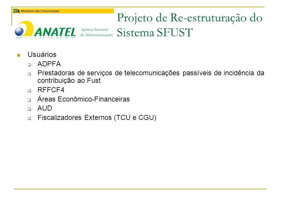 Projeto de Re-estruturação do Sistema SFUST  Usuários  ADPFA  Prestadoras de serviços de telecomunicações passíveis de incidência da contribuição ao Fust  RFFCF4  Áreas Econômico-Financeiras  AUD  Fiscalizadores Externos (TCU e CGU)