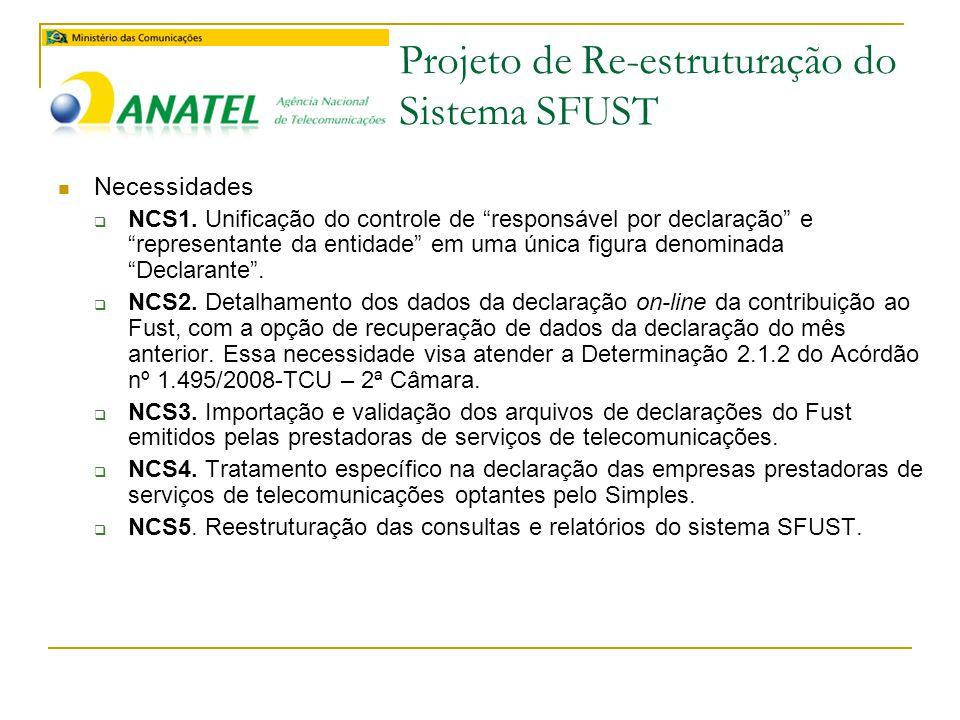 Projeto de Re-estruturação do Sistema SFUST  Necessidades  NCS1.