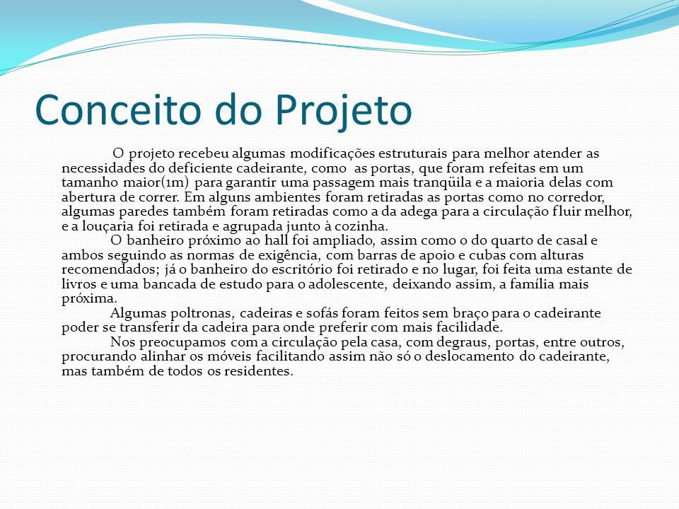 Conceito do Projeto O projeto recebeu algumas modificações estruturais para melhor atender as necessidades do deficiente cadeirante, como as portas, q