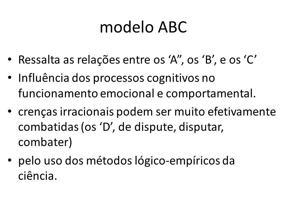 """modelo ABC • Ressalta as relações entre os 'A"""", os 'B', e os 'C' • Influência dos processos cognitivos no funcionamento emocional e comportamental. •"""