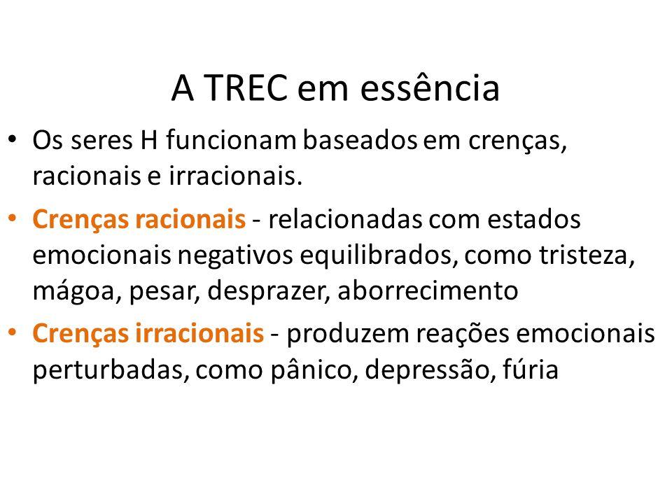 A TREC em essência • Os seres H funcionam baseados em crenças, racionais e irracionais. • Crenças racionais - relacionadas com estados emocionais nega