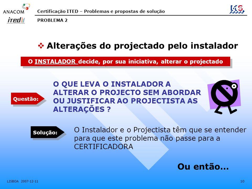 Certificação ITED – Problemas e propostas de solução LISBOA 2007-12-11 10 PROBLEMA 2 O INSTALADOR decide, por sua iniciativa, alterar o projectado O I