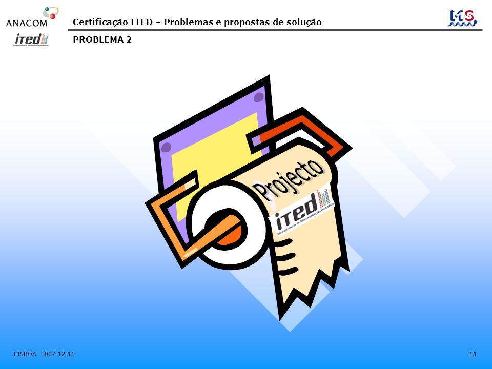 Certificação ITED – Problemas e propostas de solução LISBOA 2007-12-11 11 PROBLEMA 2