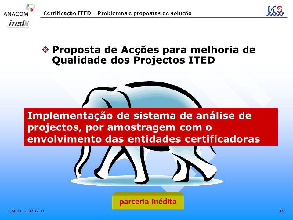 Certificação ITED – Problemas e propostas de solução LISBOA 2007-12-11 15  Proposta de Acções para melhoria de Qualidade dos Projectos ITED Implement