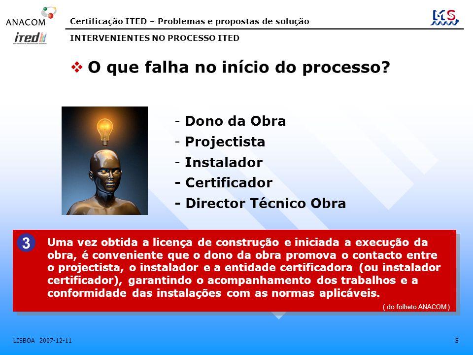 Certificação ITED – Problemas e propostas de solução LISBOA 2007-12-11 5 INTERVENIENTES NO PROCESSO ITED - Dono da Obra - Projectista - Instalador - C