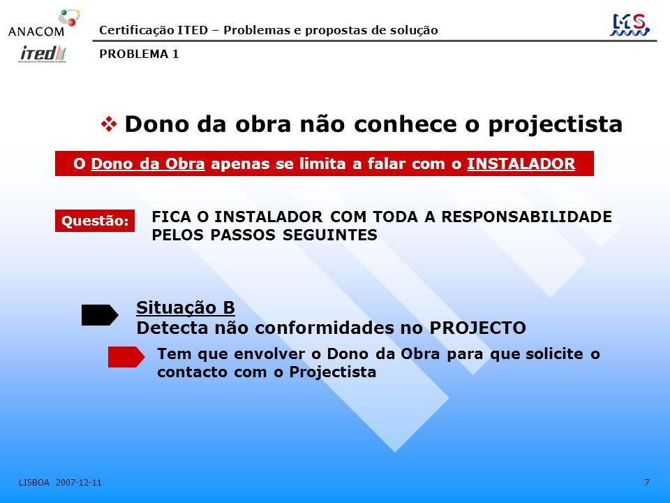 Certificação ITED – Problemas e propostas de solução LISBOA 2007-12-11 7 Situação B Detecta não conformidades no PROJECTO Tem que envolver o Dono da O