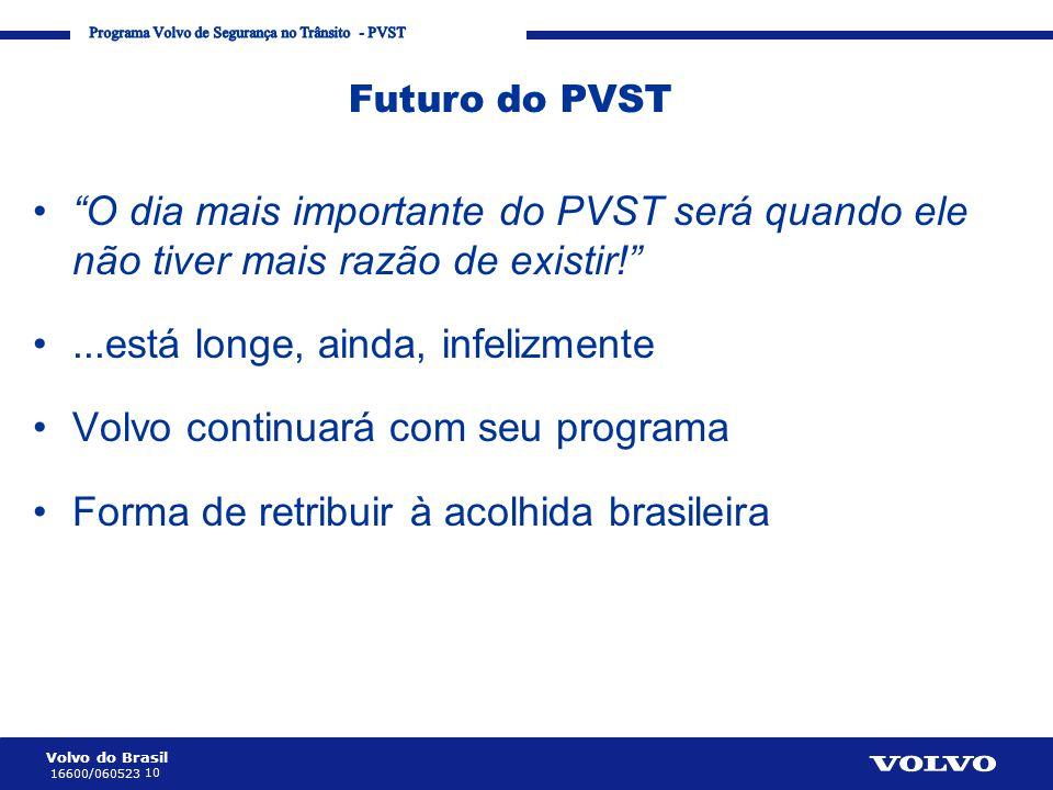 """Volvo do Brasil 10 16600/060523 Corporate Communication Processes and Strategies Futuro do PVST •""""O dia mais importante do PVST será quando ele não ti"""
