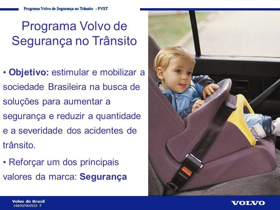 Volvo do Brasil 2 16600/060523 Corporate Communication Processes and Strategies Programa Volvo de Segurança no Trânsito • Objetivo: estimular e mobili