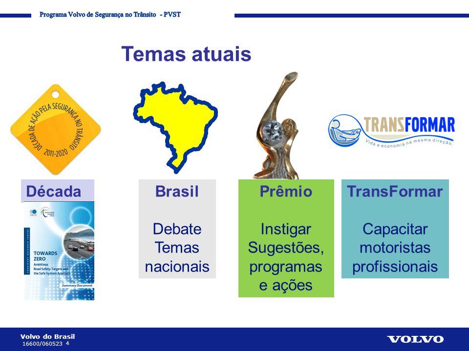 Volvo do Brasil 4 16600/060523 Corporate Communication Processes and Strategies Temas atuais Prêmio Instigar Sugestões, programas e ações Brasil Debat