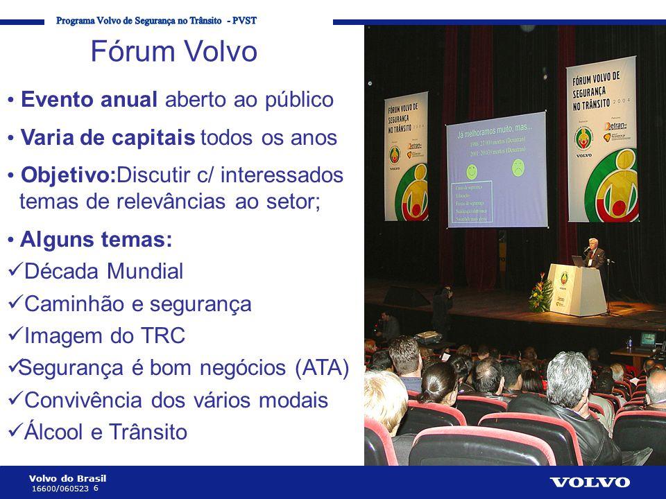 Volvo do Brasil 6 16600/060523 Corporate Communication Processes and Strategies Fórum Volvo • Evento anual aberto ao público • Varia de capitais todos