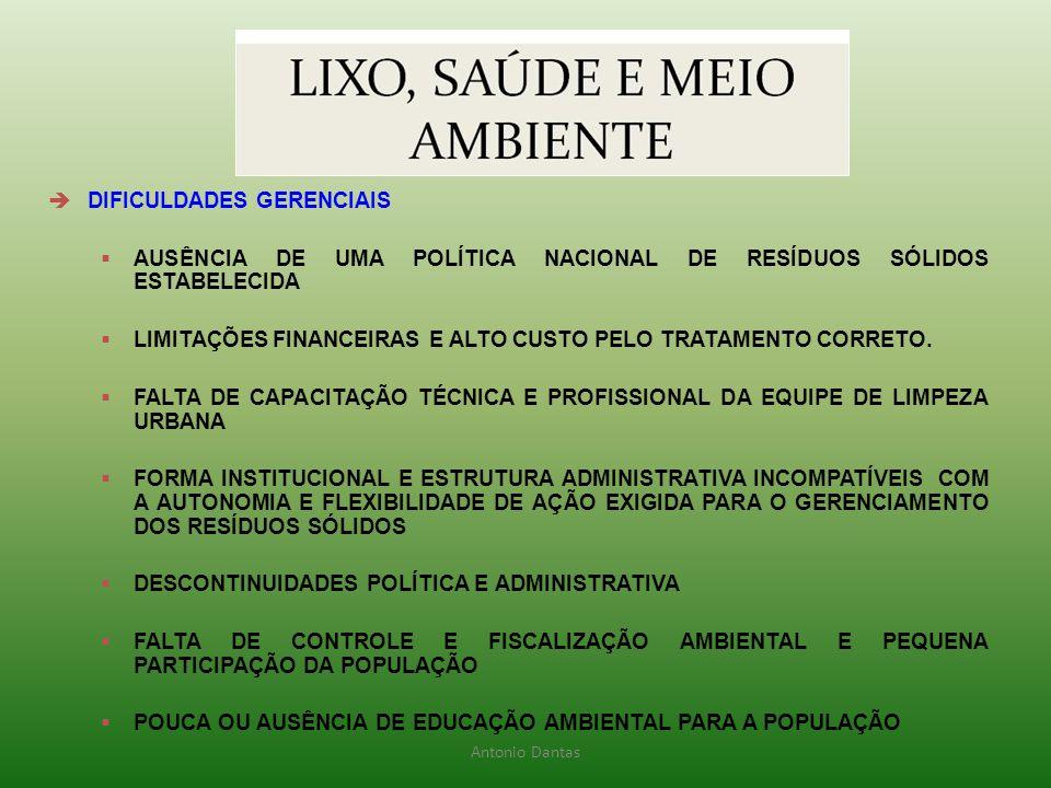  DIFICULDADES GERENCIAIS  AUSÊNCIA DE UMA POLÍTICA NACIONAL DE RESÍDUOS SÓLIDOS ESTABELECIDA  LIMITAÇÕES FINANCEIRAS E ALTO CUSTO PELO TRATAMENTO C