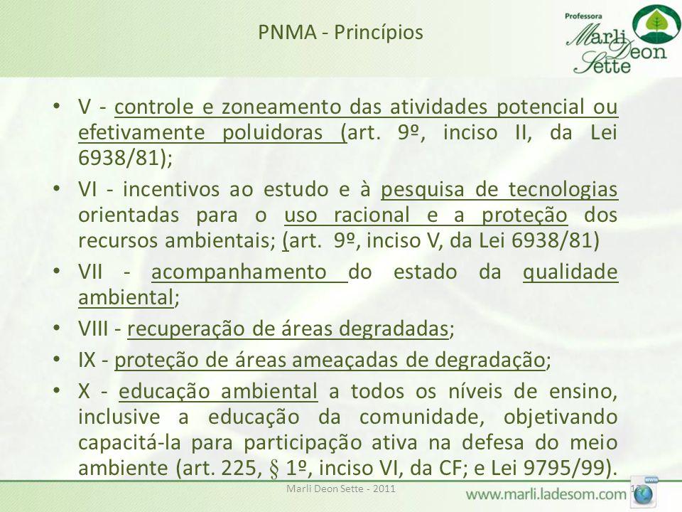 Marli Deon Sette - 201112 PNMA - Princípios • V - controle e zoneamento das atividades potencial ou efetivamente poluidoras (art. 9º, inciso II, da Le