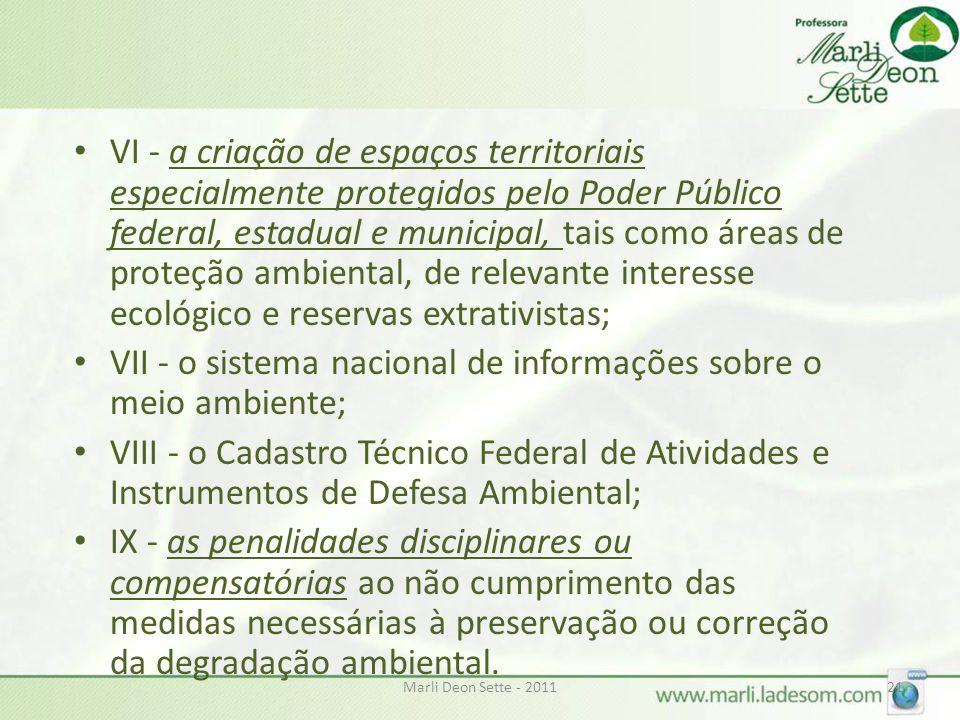 Marli Deon Sette - 201121 • VI - a criação de espaços territoriais especialmente protegidos pelo Poder Público federal, estadual e municipal, tais com