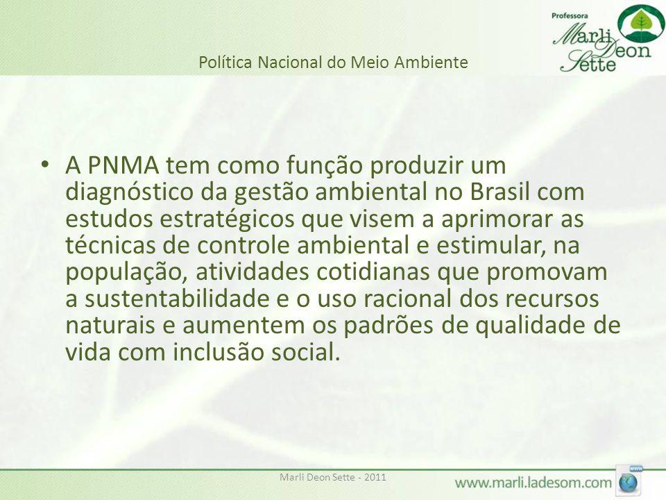 Marli Deon Sette - 20115 Política Nacional do Meio Ambiente • A PNMA tem como função produzir um diagnóstico da gestão ambiental no Brasil com estudos