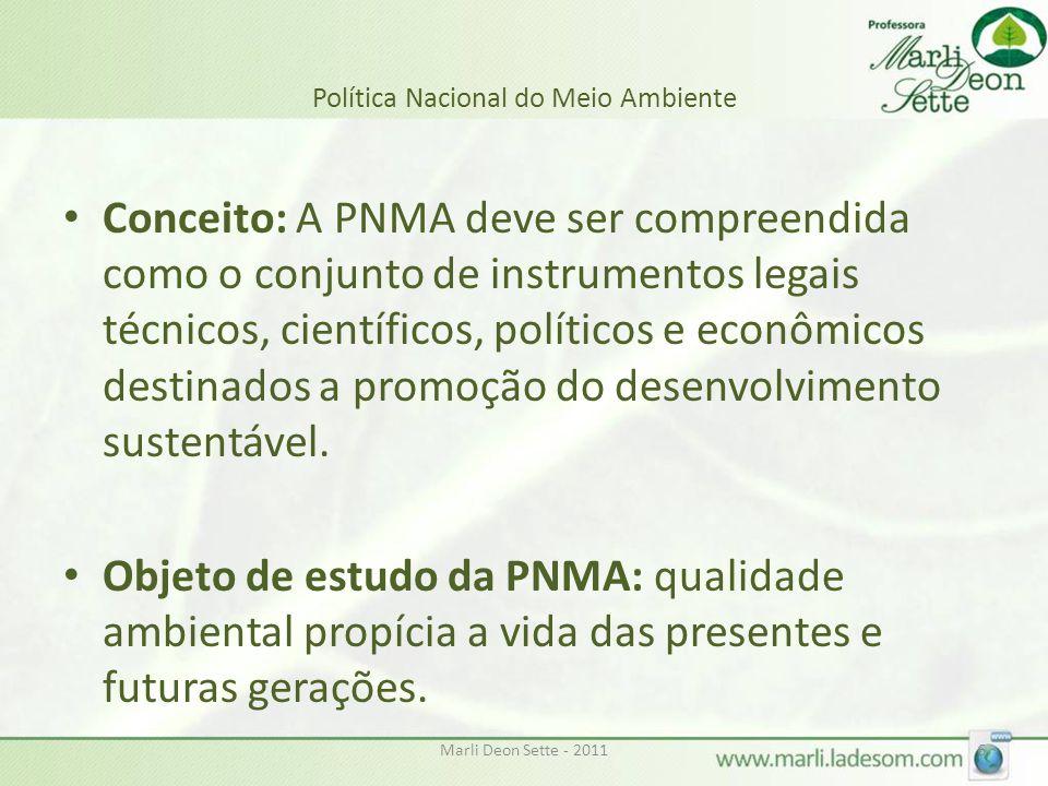 Marli Deon Sette - 20116 Política Nacional do Meio Ambiente • Conceito: A PNMA deve ser compreendida como o conjunto de instrumentos legais técnicos, científicos, políticos e econômicos destinados a promoção do desenvolvimento sustentável.