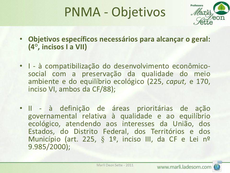 Marli Deon Sette - 20118 PNMA - Objetivos • Objetivos específicos necessários para alcançar o geral: (4°, incisos I a VII) • I - à compatibilização do desenvolvimento econômico- social com a preservação da qualidade do meio ambiente e do equilíbrio ecológico (225, caput, e 170, inciso VI, ambos da CF/88); • II - à definição de áreas prioritárias de ação governamental relativa à qualidade e ao equilíbrio ecológico, atendendo aos interesses da União, dos Estados, do Distrito Federal, dos Territórios e dos Município (art.