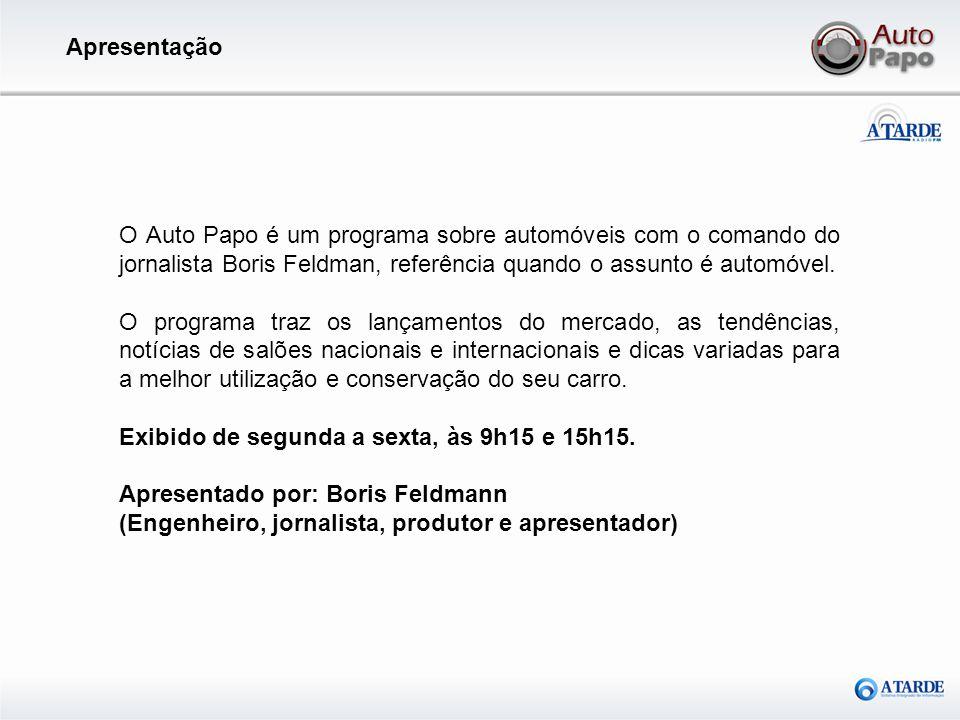 O Auto Papo é um programa sobre automóveis com o comando do jornalista Boris Feldman, referência quando o assunto é automóvel. O programa traz os lanç
