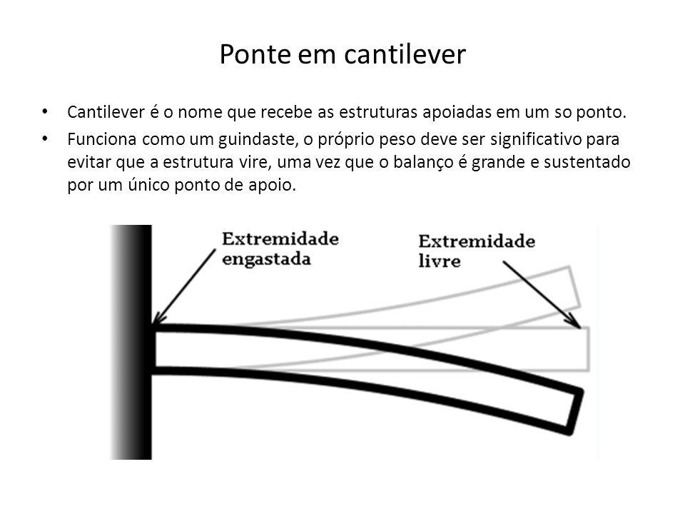 Ponte em cantilever • Cantilever é o nome que recebe as estruturas apoiadas em um so ponto. • Funciona como um guindaste, o próprio peso deve ser sign