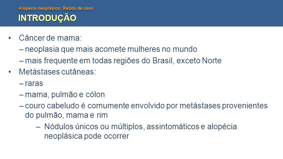 Alopécia neoplásica: Relato de caso INTRODUÇÃO •Câncer de mama: –neoplasia que mais acomete mulheres no mundo –mais frequente em todas regiões do Bras