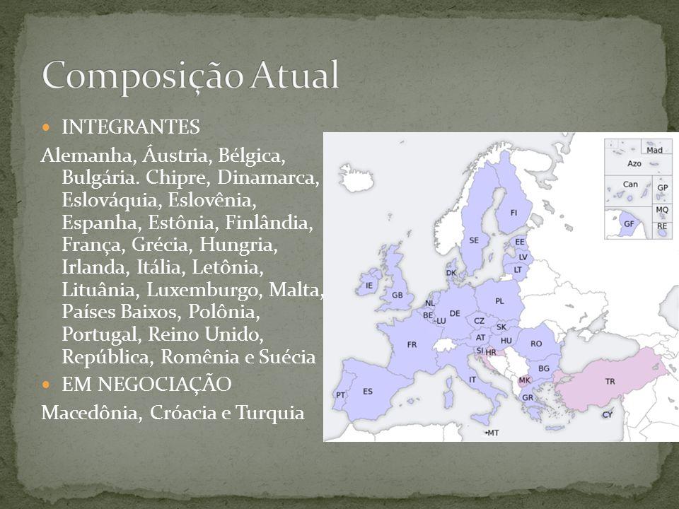  INTEGRANTES Alemanha, Áustria, Bélgica, Bulgária. Chipre, Dinamarca, Eslováquia, Eslovênia, Espanha, Estônia, Finlândia, França, Grécia, Hungria, Ir