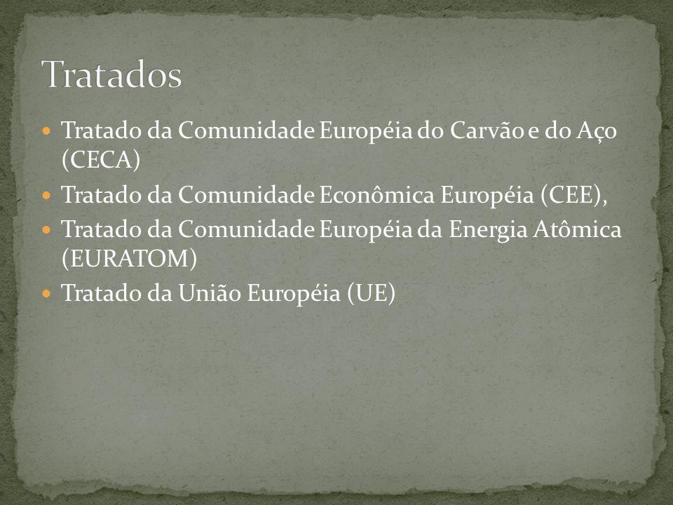  Tratado da Comunidade Européia do Carvão e do Aço (CECA)  Tratado da Comunidade Econômica Européia (CEE),  Tratado da Comunidade Européia da Energ