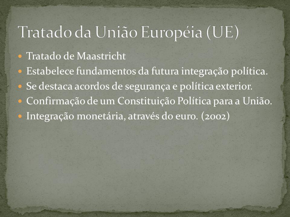  Tratado de Maastricht  Estabelece fundamentos da futura integração política.  Se destaca acordos de segurança e política exterior.  Confirmação d