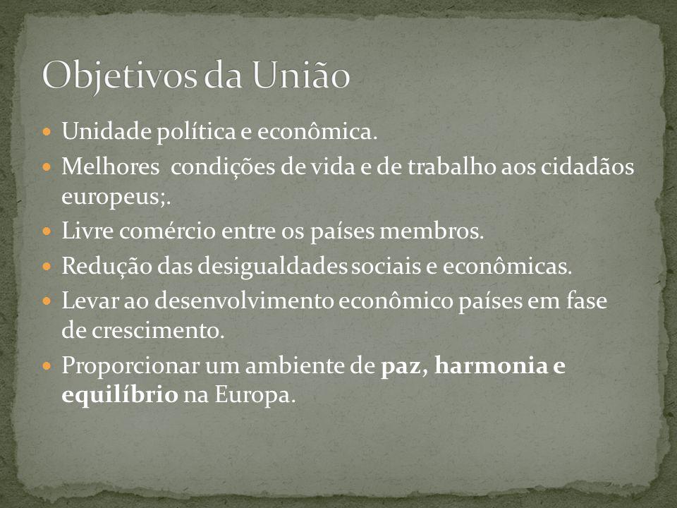  Unidade política e econômica.  Melhores condições de vida e de trabalho aos cidadãos europeus;.  Livre comércio entre os países membros.  Redução