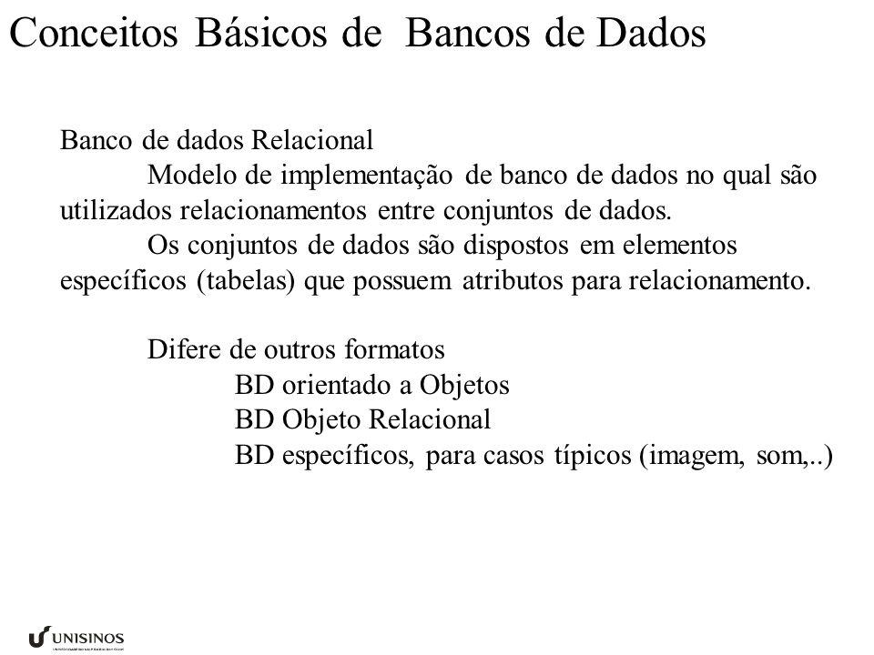 Conceitos Básicos de Bancos de Dados Banco de dados Relacional Modelo de implementação de banco de dados no qual são utilizados relacionamentos entre