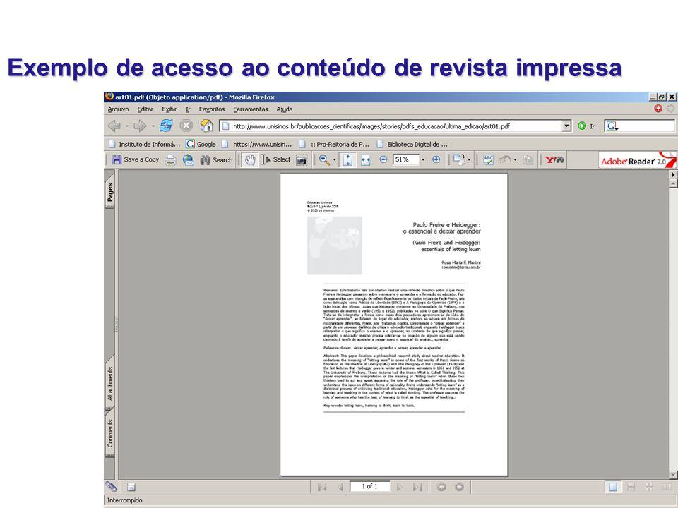 Exemplo de acesso ao conteúdo de revista impressa