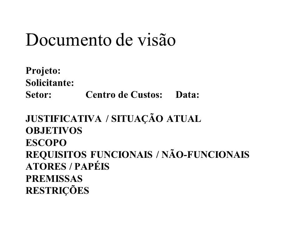 Documento de visão Projeto: Solicitante: Setor:Centro de Custos:Data: JUSTIFICATIVA / SITUAÇÃO ATUAL OBJETIVOS ESCOPO REQUISITOS FUNCIONAIS / NÃO-FUNC