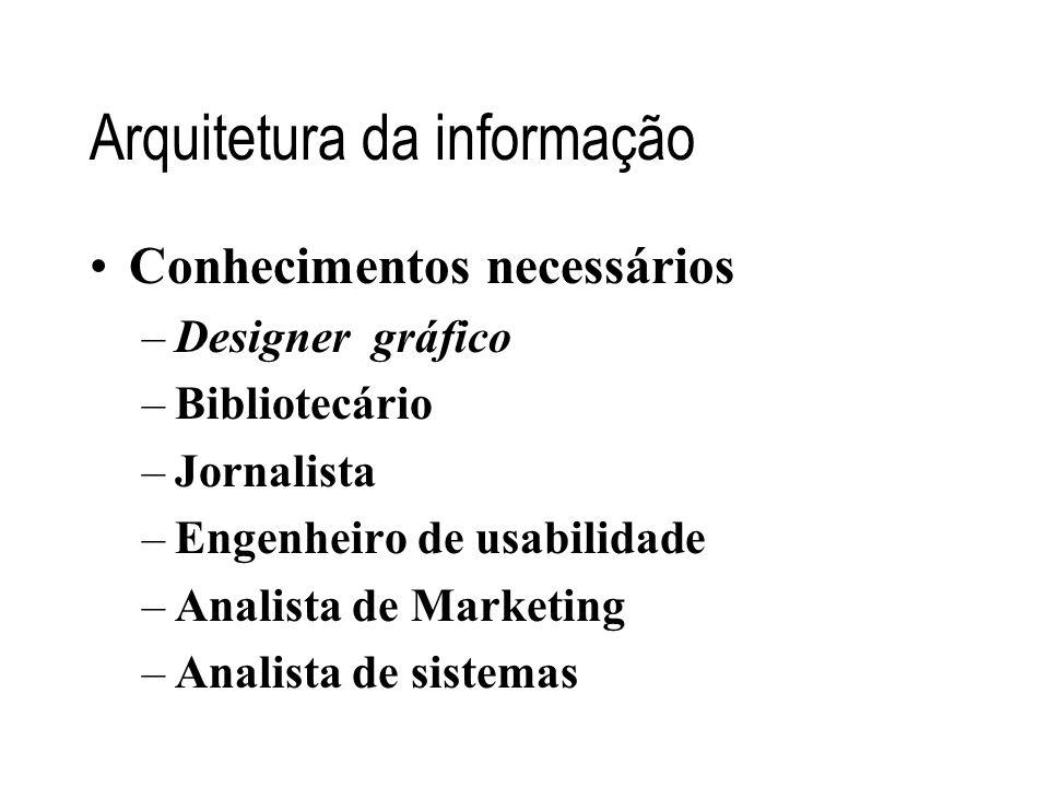 Arquitetura da informação •Conhecimentos necessários –Designer gráfico –Bibliotecário –Jornalista –Engenheiro de usabilidade –Analista de Marketing –A