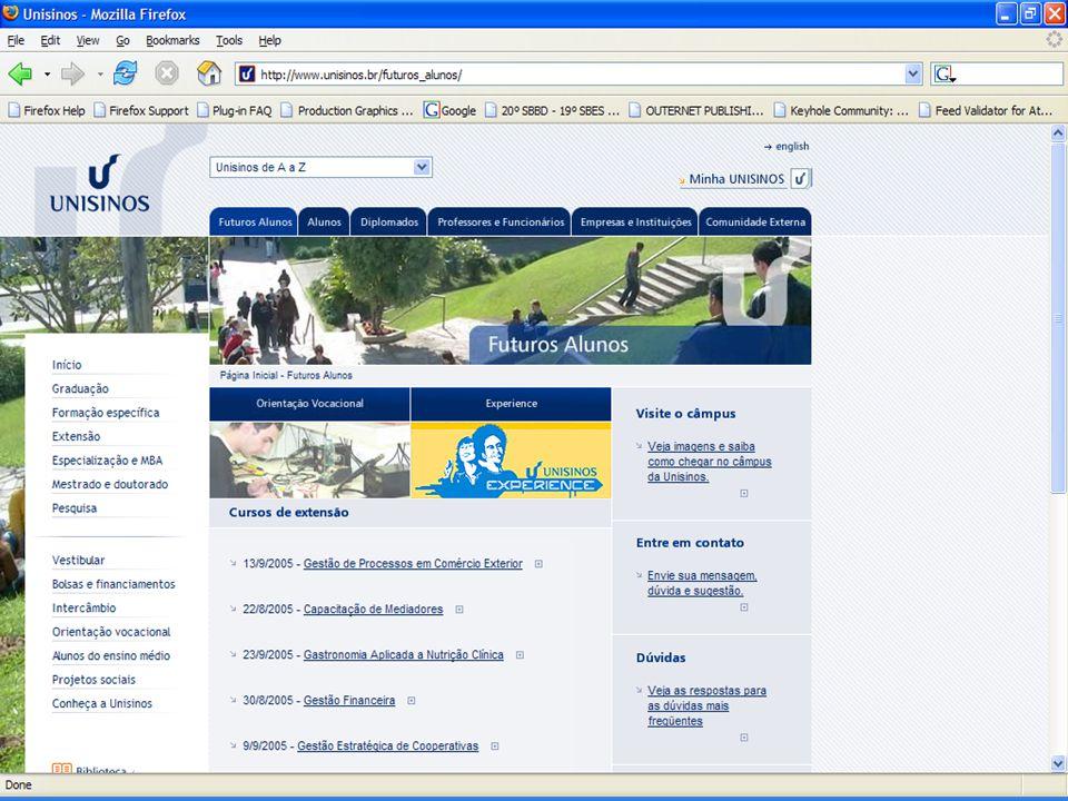 Arquitetura da informação •Processo geral de construção –Levantamento de requisitos –Descrição do conteúdo e seu relacionamento (mapa do site) –Organi