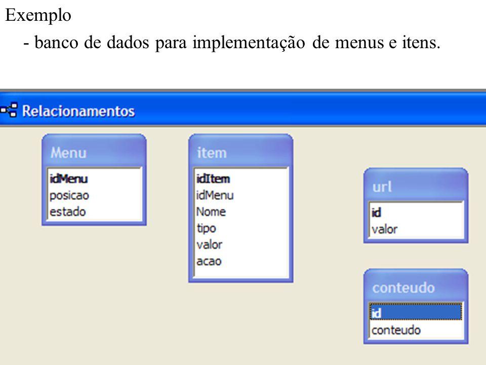 Exemplo - banco de dados para implementação de menus e itens.
