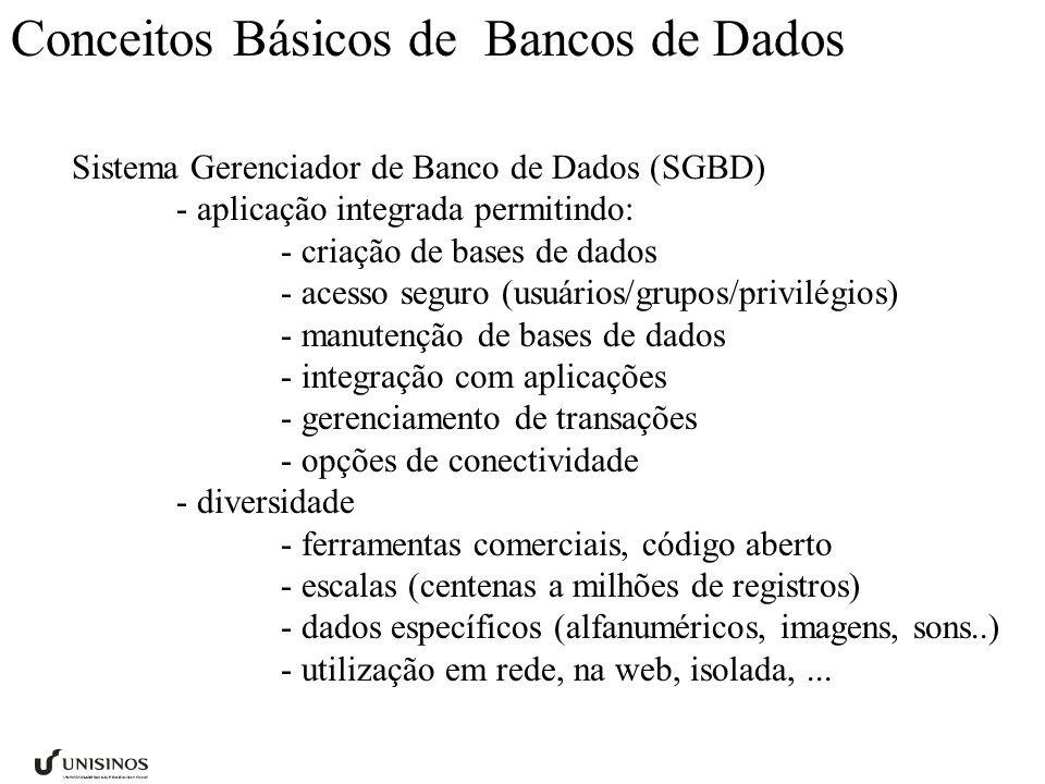 Conceitos Básicos de Bancos de Dados Sistema Gerenciador de Banco de Dados (SGBD) - aplicação integrada permitindo: - criação de bases de dados - aces