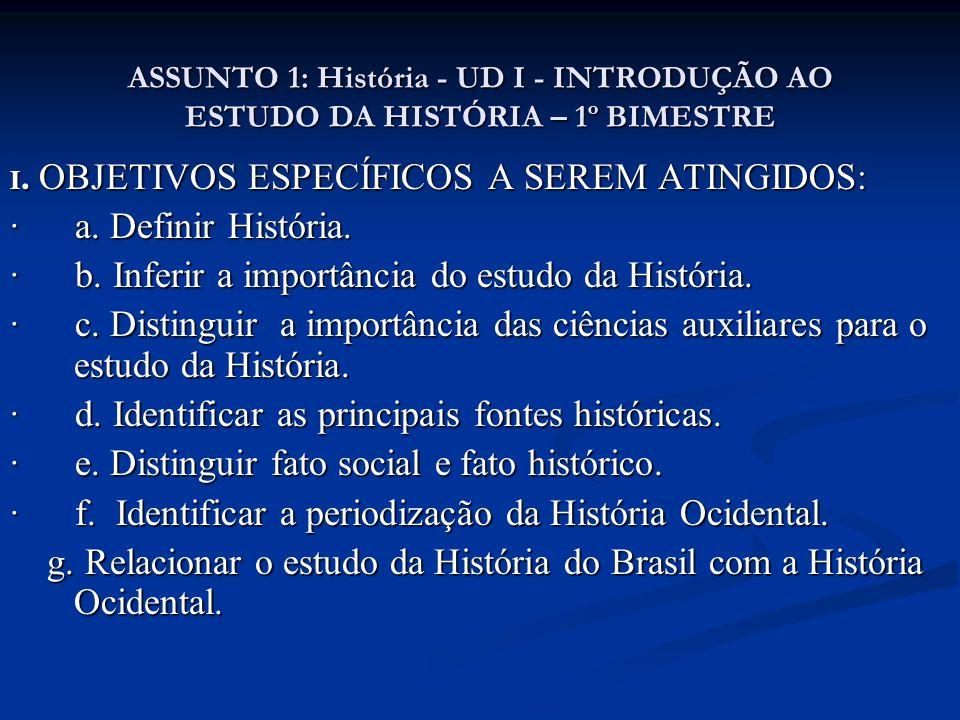 ASSUNTO 1: História - UD I - INTRODUÇÃO AO ESTUDO DA HISTÓRIA – 1º BIMESTRE I. OBJETIVOS ESPECÍFICOS A SEREM ATINGIDOS: · a. Definir História. · b. In