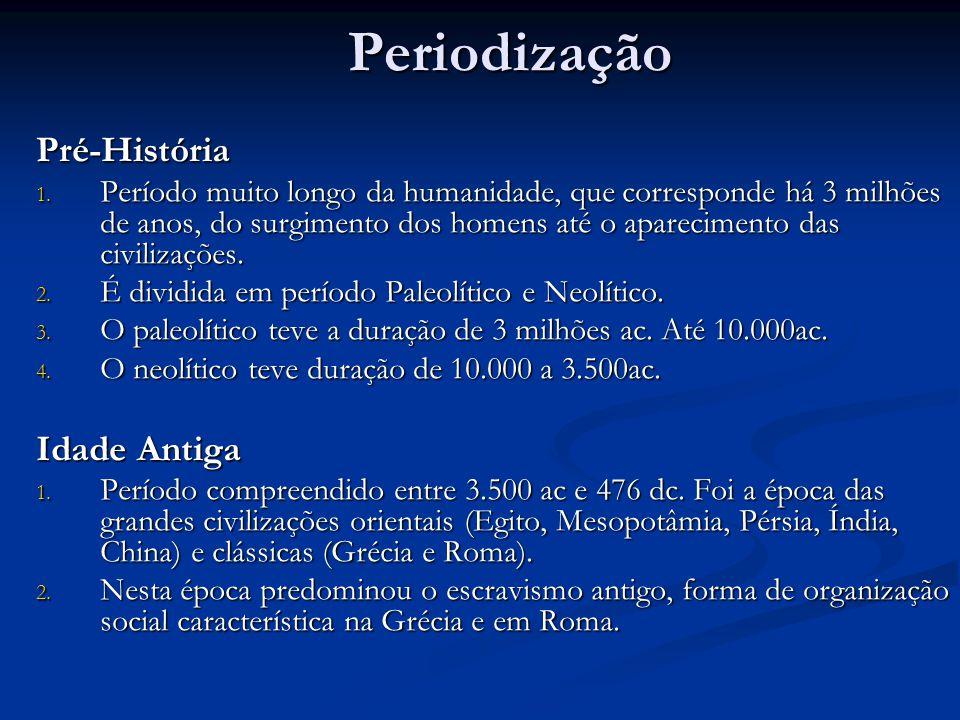 PeriodizaçãoPré-História 1. Período muito longo da humanidade, que corresponde há 3 milhões de anos, do surgimento dos homens até o aparecimento das c