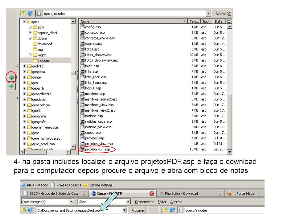 4- na pasta includes localize o arquivo projetosPDF.asp e faça o download para o computador depois procure o arquivo e abra com bloco de notas