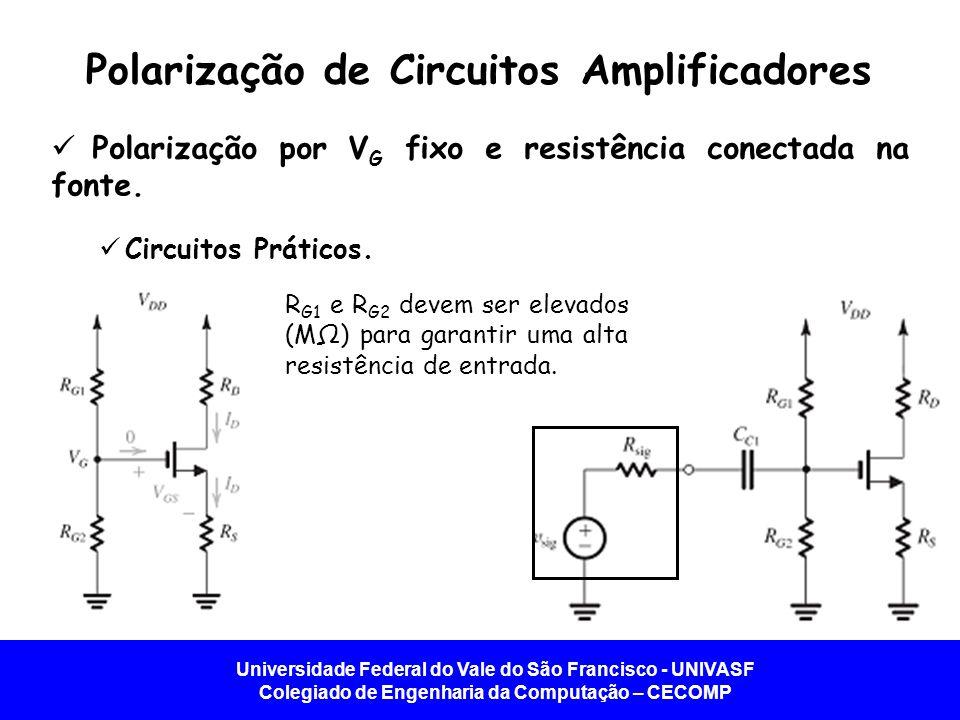 Universidade Federal do Vale do São Francisco - UNIVASF Colegiado de Engenharia da Computação – CECOMP Polarização de Circuitos Amplificadores   Polarização por V G fixo e resistência conectada na fonte.