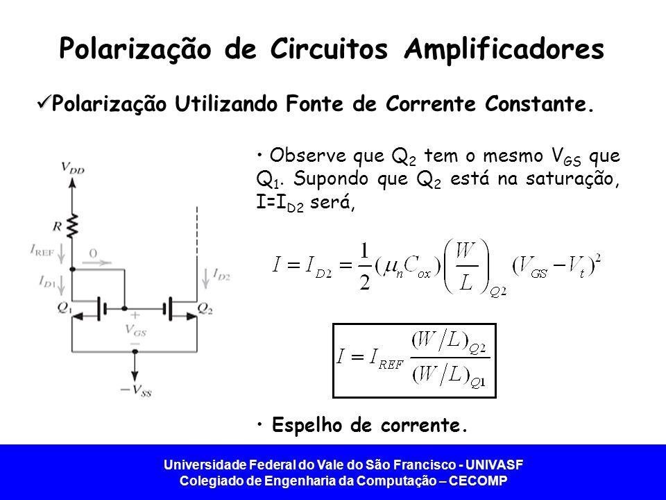 Universidade Federal do Vale do São Francisco - UNIVASF Colegiado de Engenharia da Computação – CECOMP Polarização de Circuitos Amplificadores   Polarização Utilizando Fonte de Corrente Constante.